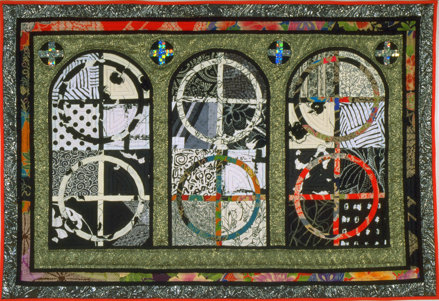 """1250-13. Enigma Variation, 28""""x41"""",Pieced & appliquedcottons, linens, metallics, hand quilted"""