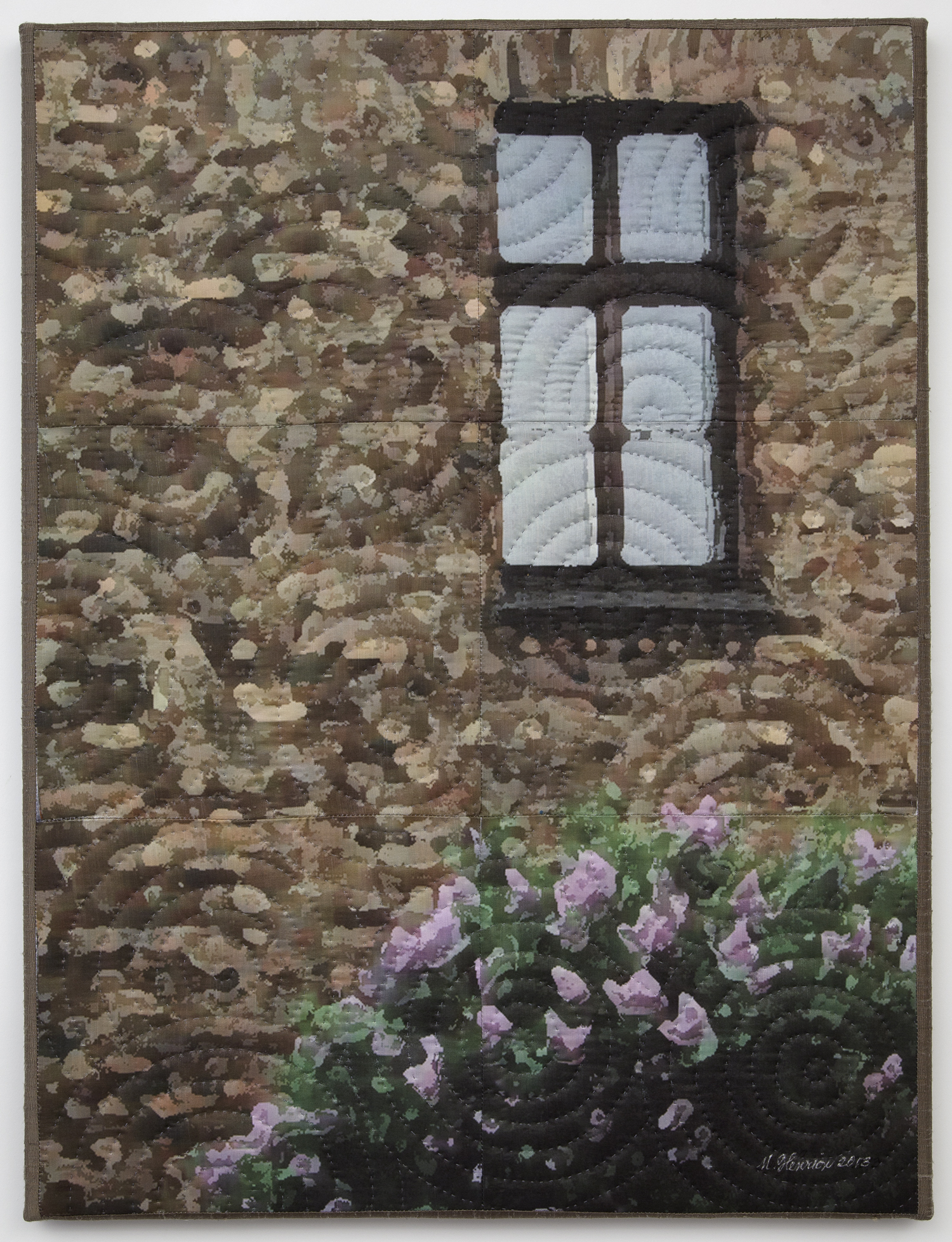 """1250-10, Auschwitz Windows1331, 24""""x18"""", mixed media on silk, hand quilted, gallery-wrapped stretched canvas"""