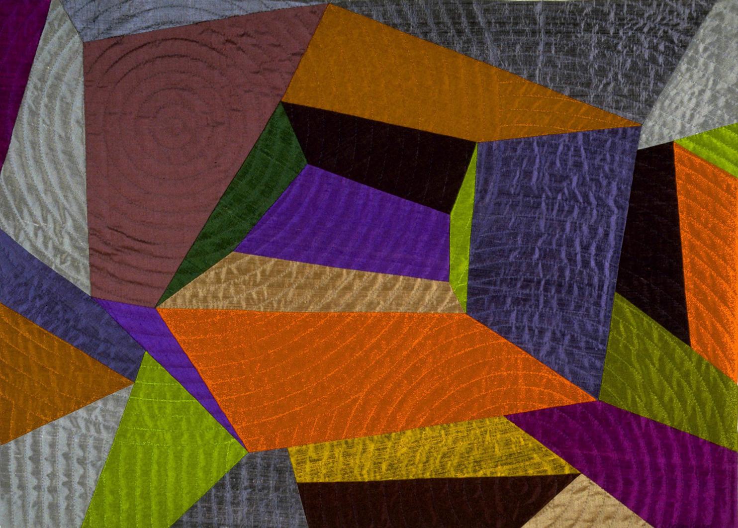 "1500-1.  Voices Beneath, 31""x21"", pieced silks, hand quilted"
