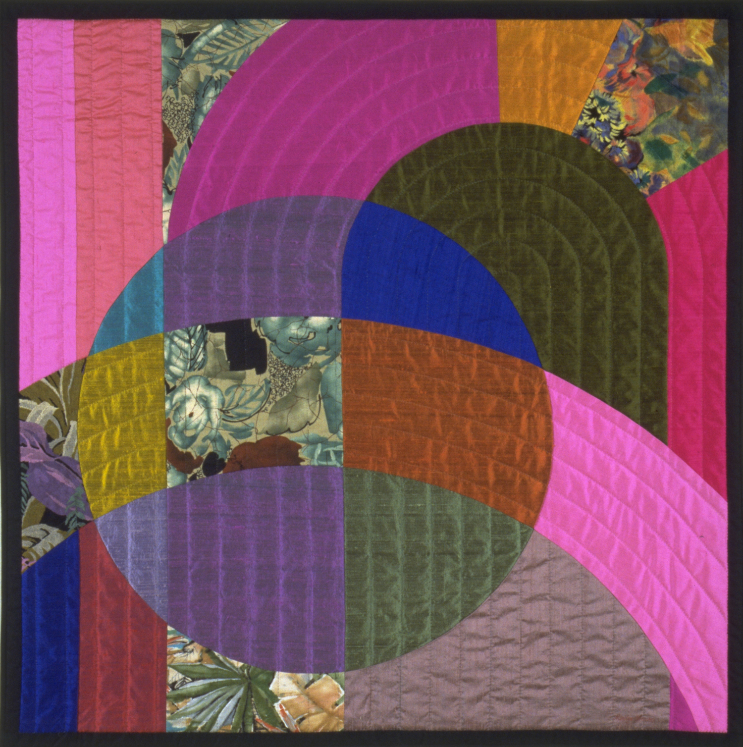 "2000-9. Etude 1, 38""x38"", pieced silks & cottons, hand quilted"