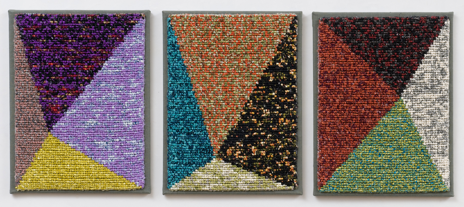 "2000-18. Crossroads Triptych, 16""x36""x1"", hand hooked cottons on mesh canvas, mounted on linen, canvas stretchers"