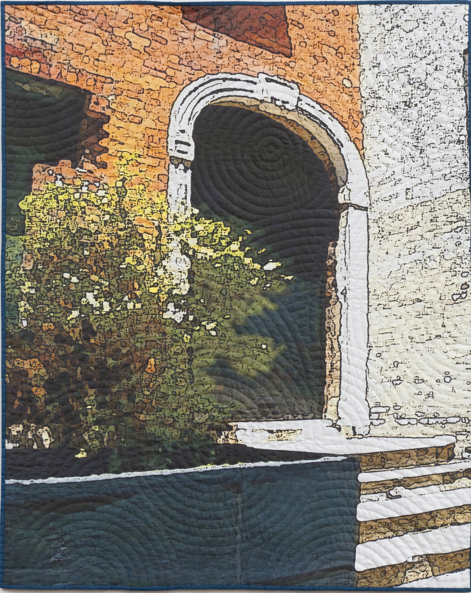 """2500-1. Soft City; Archway, 50""""x40"""", mixed media on cotton, hand quilted"""