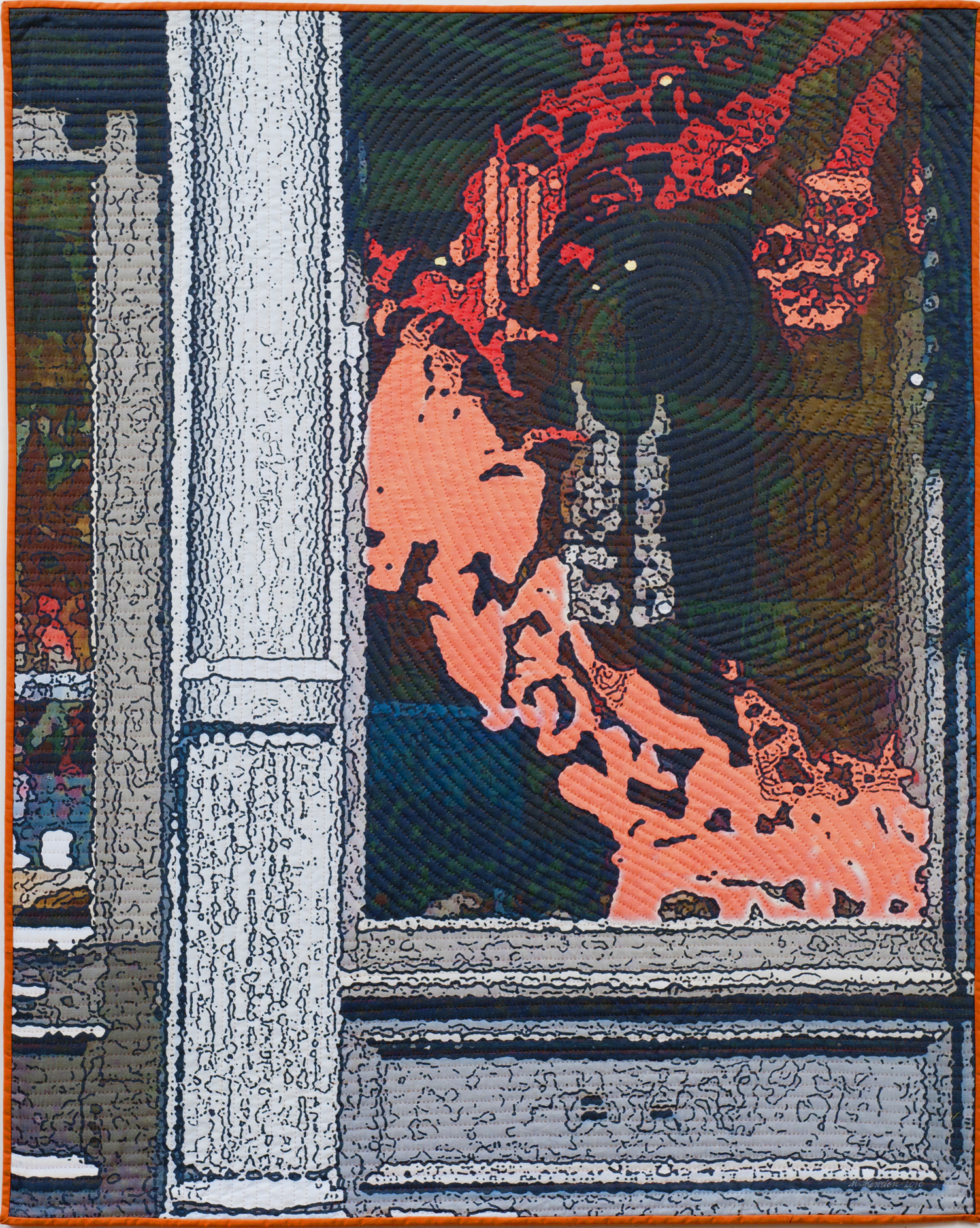 """2500-4. Soft City; Red Dragon, 50""""x40"""", mixed media on cotton, hand quilted"""