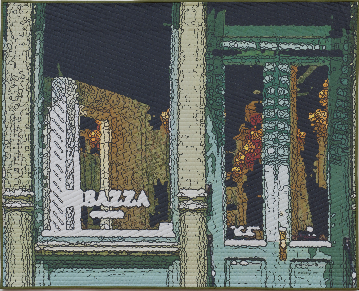 """2500-10. Soft City; Green Door, 40""""x50"""" mixed media on cotton, hand quilted"""