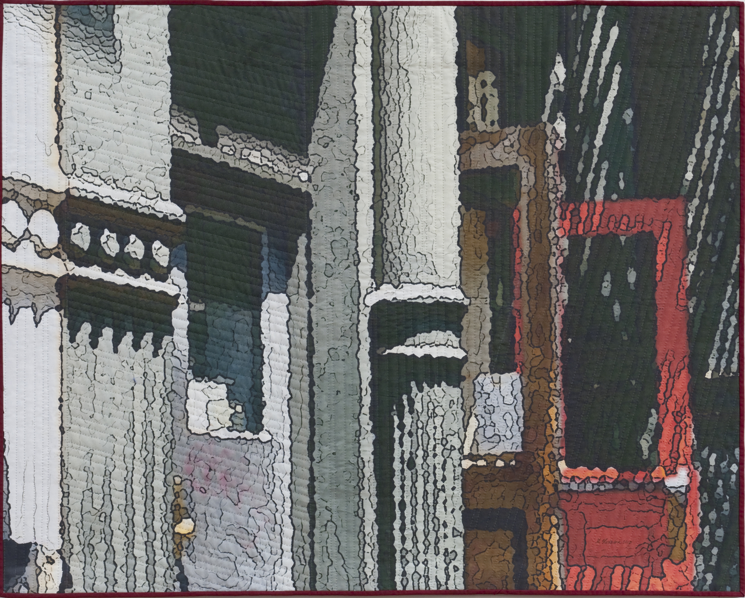 """2500-711Soft City;Red Door, 40""""x50"""", mixed media on cotton, hand quilted"""