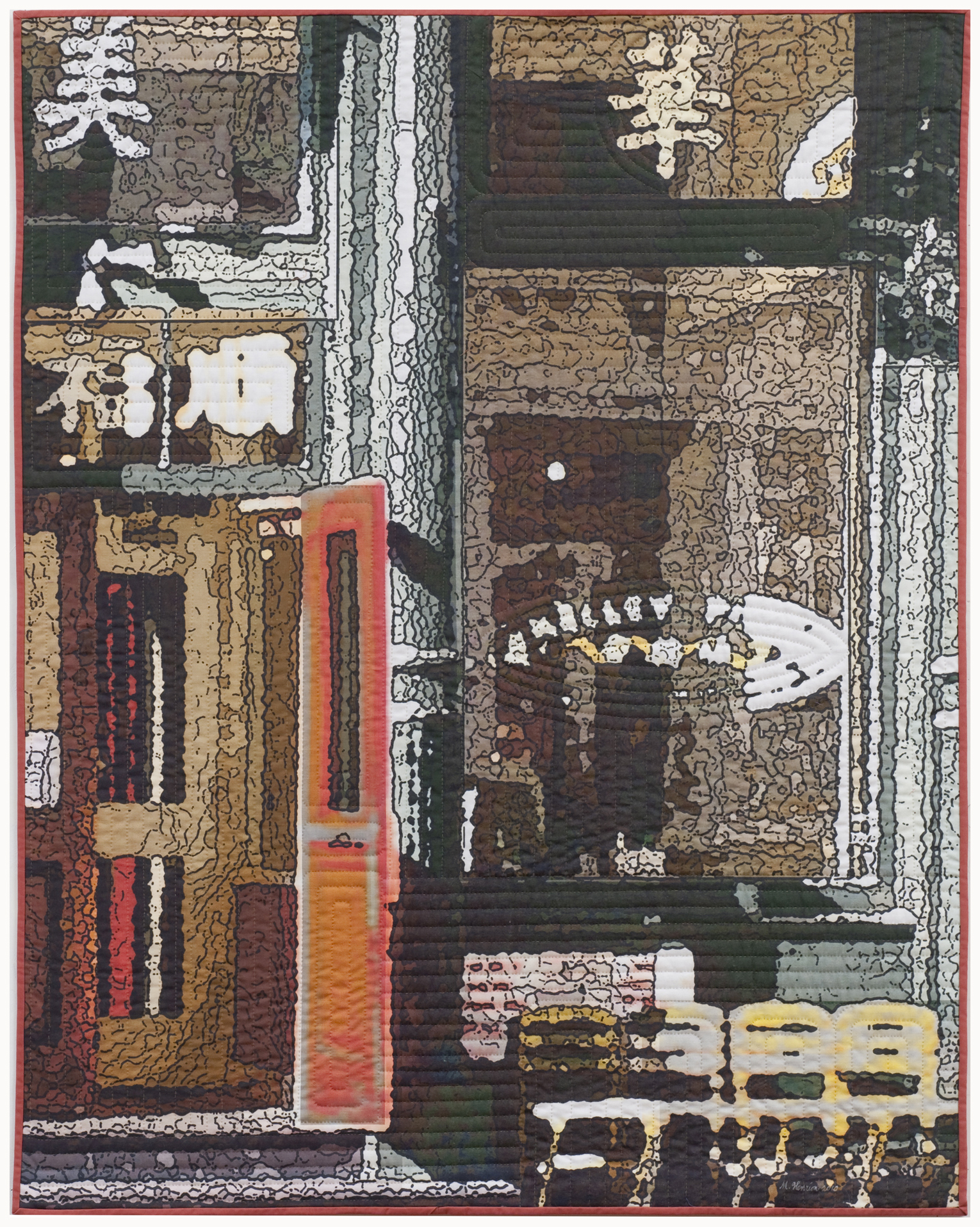 """2500-8. Soft City; Kelley & Ping, 50""""x40"""", mixed media on cotton, hand quilted"""