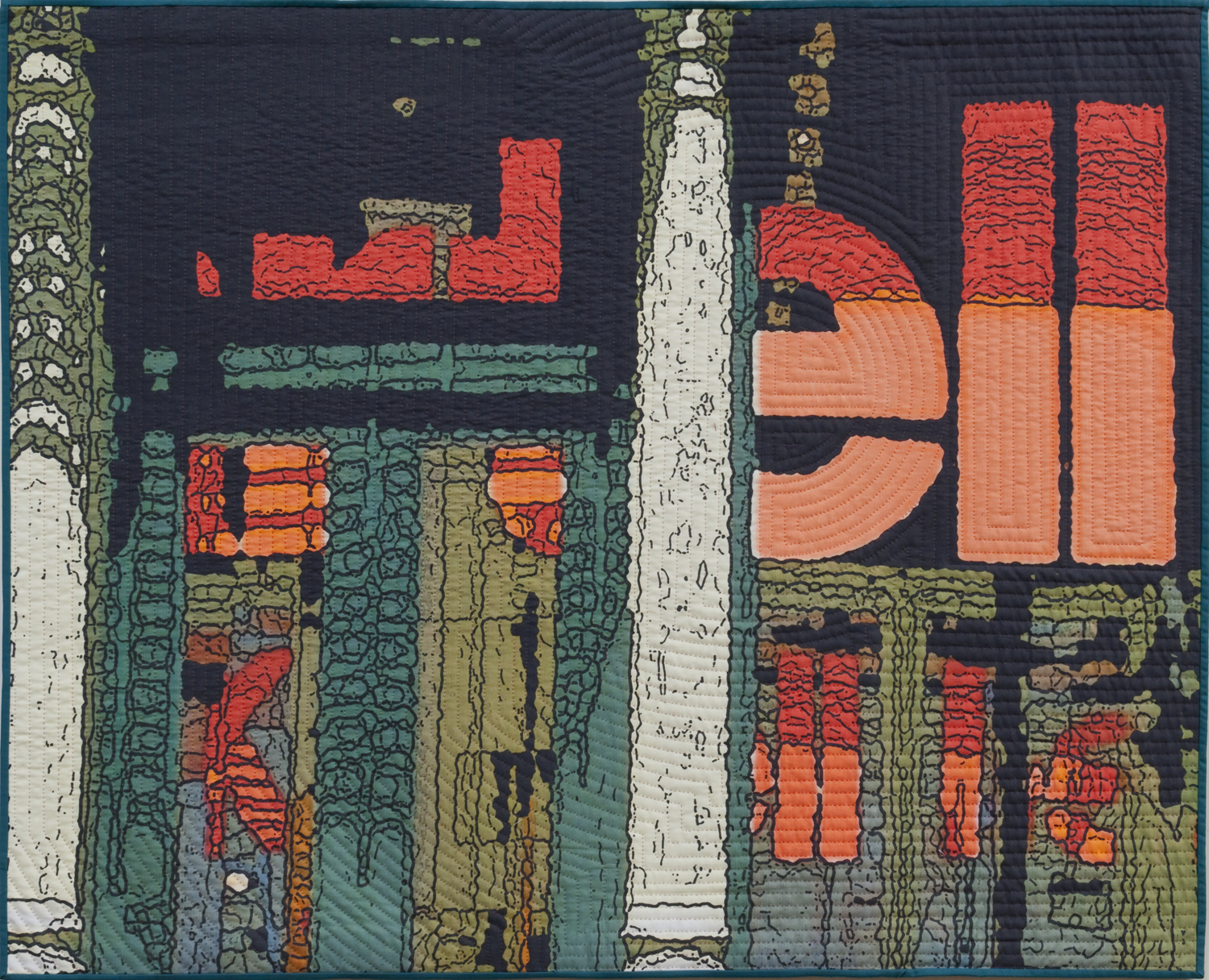 """2500-12. Soft City:ell,, 40""""x50"""", mixed media on cotton, hand quilted"""