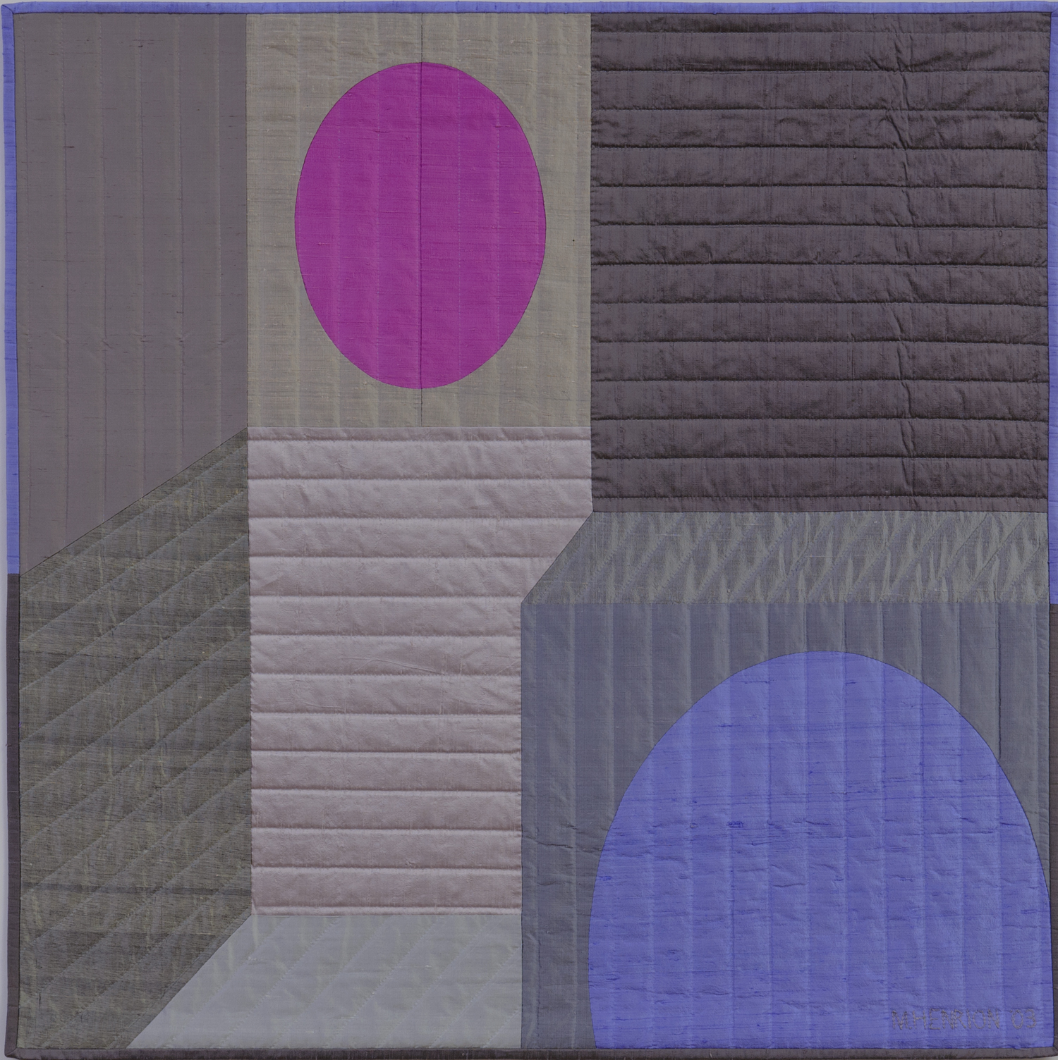 "2250-3. Innerspace 7, 40""x40"", pieced silks, hand quilted"