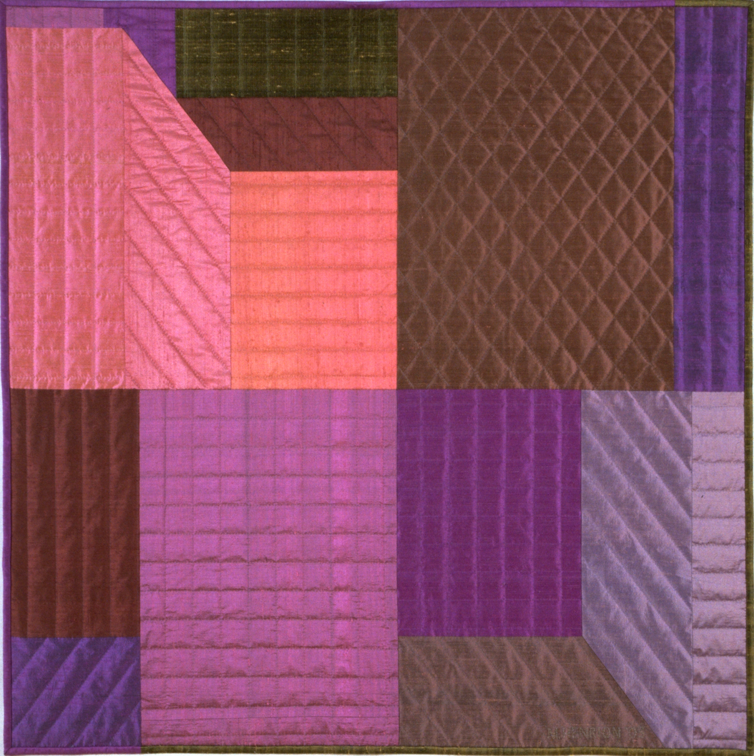 "2250-4. Innerspace 8, 40""x40"", pieced silks, hand quilted"