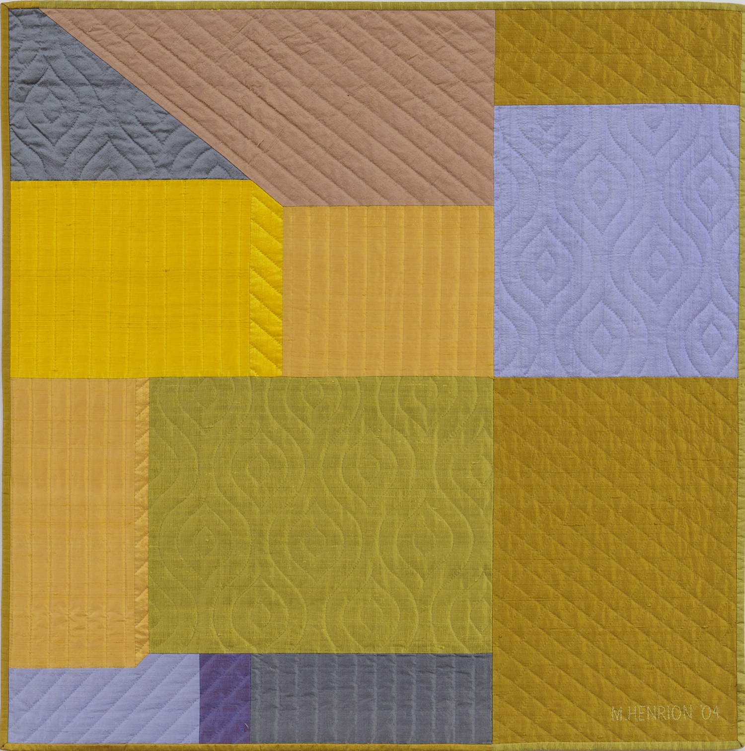 "2250-5. Innerspace 9, 40""x40"", pieced silks, hand quilted"