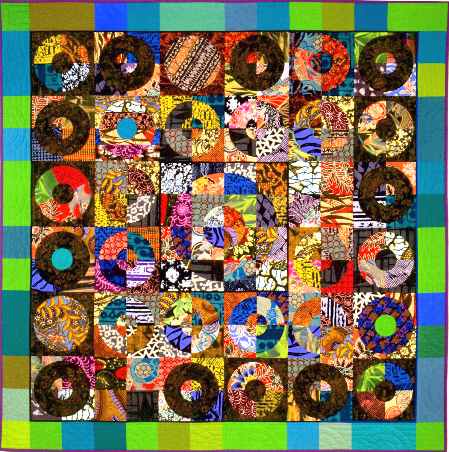 """3000-1. Multitudes, 65""""x65"""", hand pieced & hand ppliquéd cottons, hand quilted"""