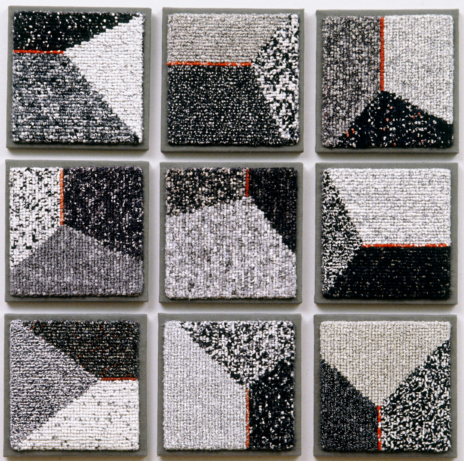 """3000-4. Triads, nine panels, each 12""""x12"""", hand hooked cottons & linens on mesh canvas, mounted on linen, canvas stretchers"""