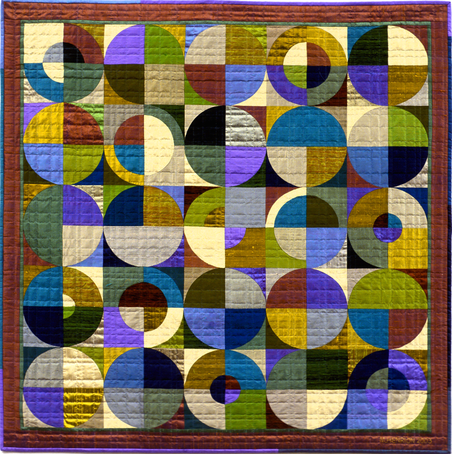 """3000-3. Tee Time, 50""""x50"""",silks, hand pieced,hand appliquéd and hand quilted"""