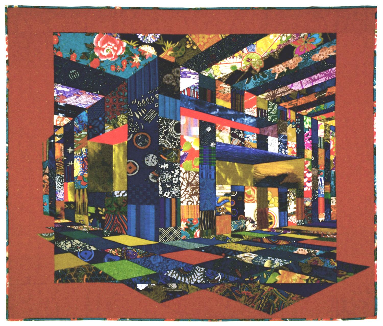 "3000-7. Innerspace II, 41""x48"", pieced silks,cottons, metallics, hand quilted"