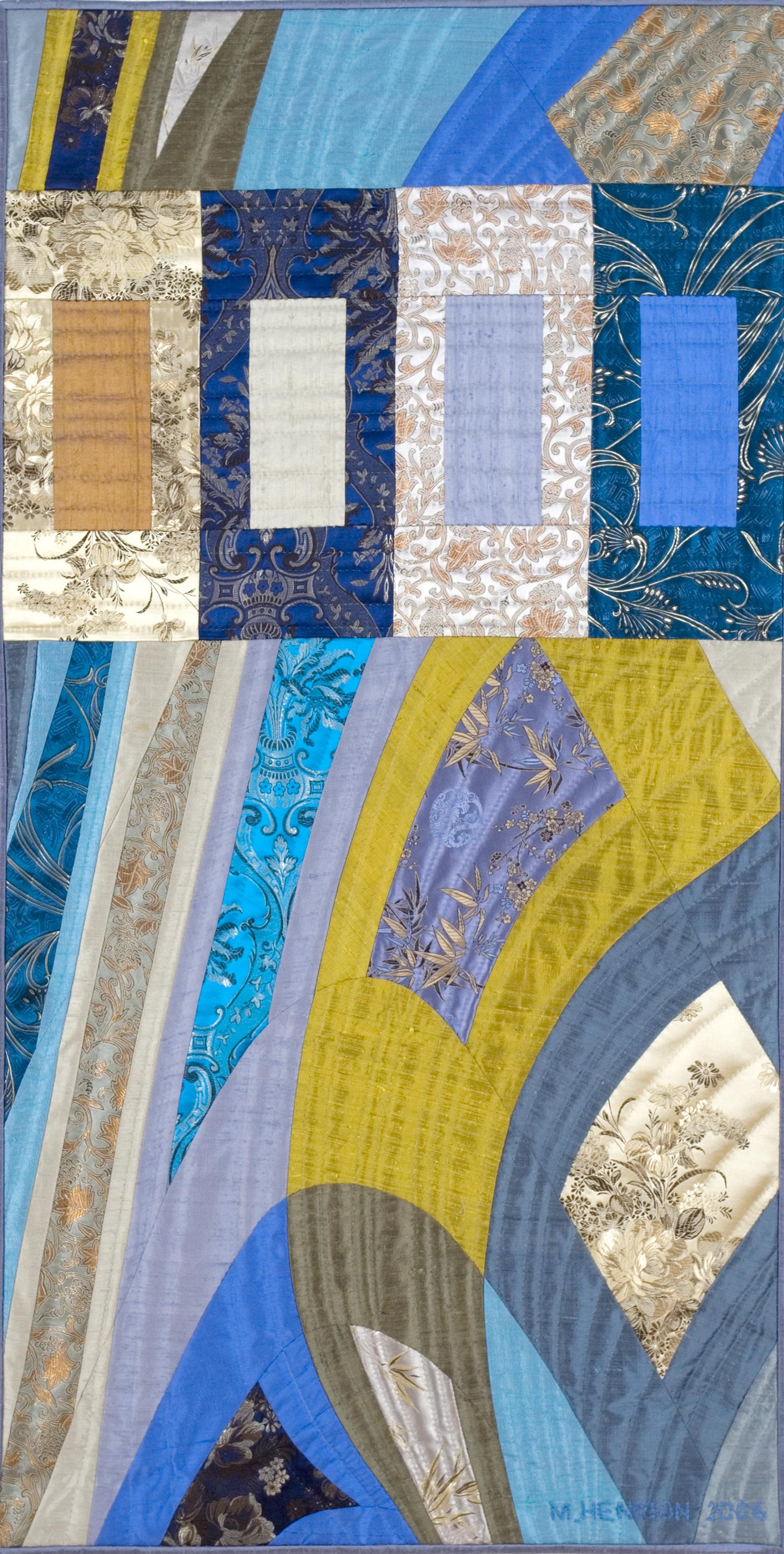 """2500-13. Disturbances 5, 48""""x24"""", hand pieced & hand quilted silks,"""