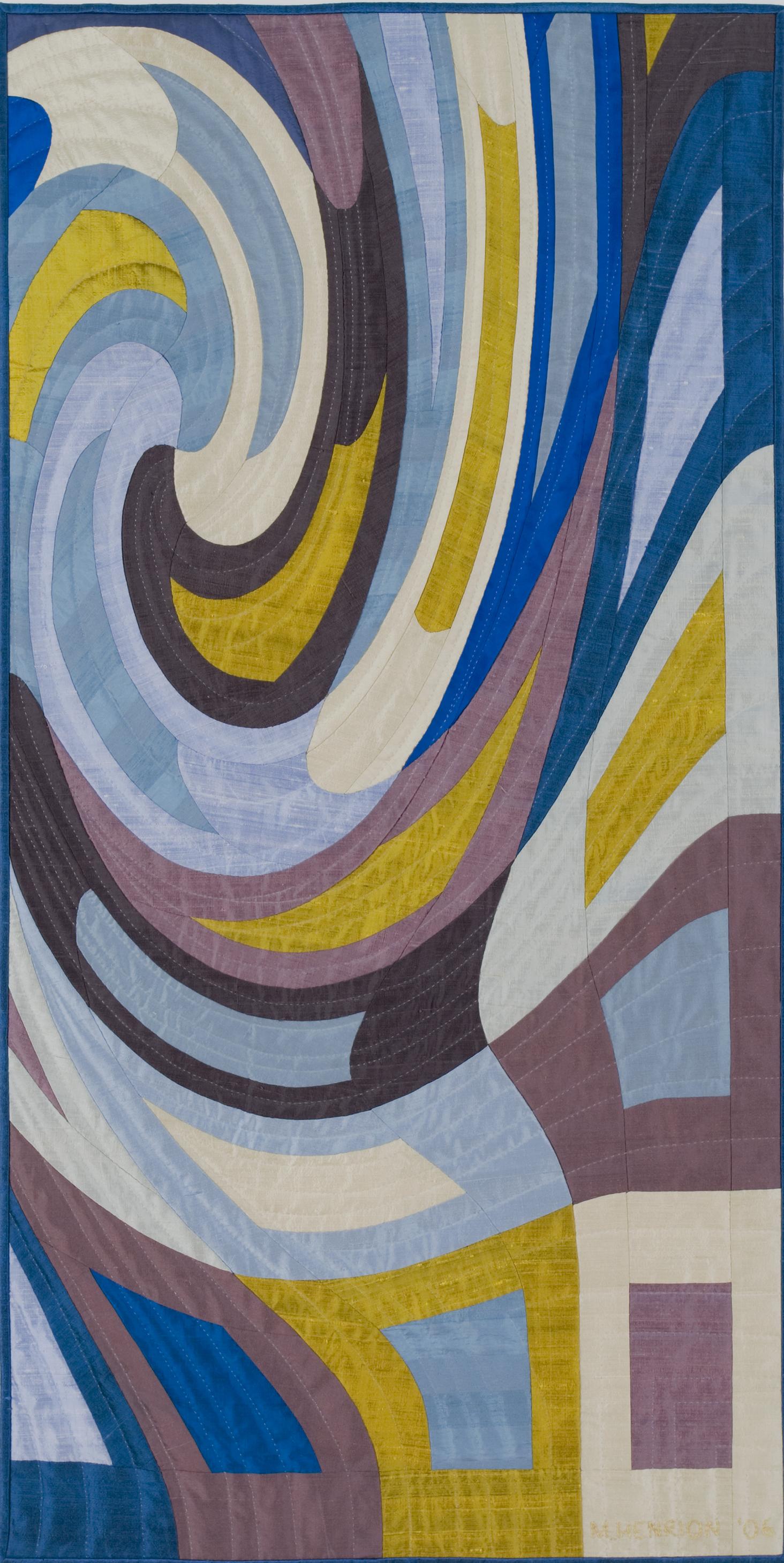 """2500-14. Disturbances 9, 48""""x24"""", hand pieced & hand quilted silks,"""
