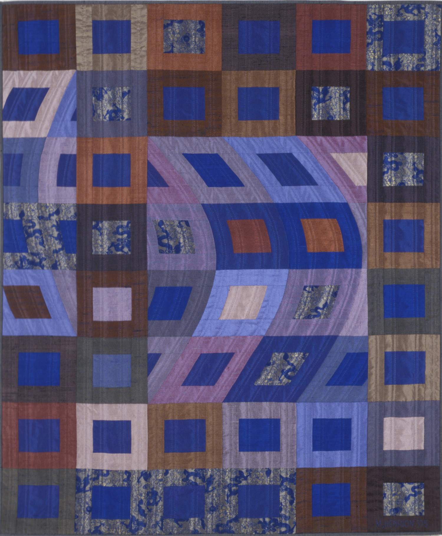 "3500-1. Disturbances 2, 48""x40"", pieced silks, hand quilted"
