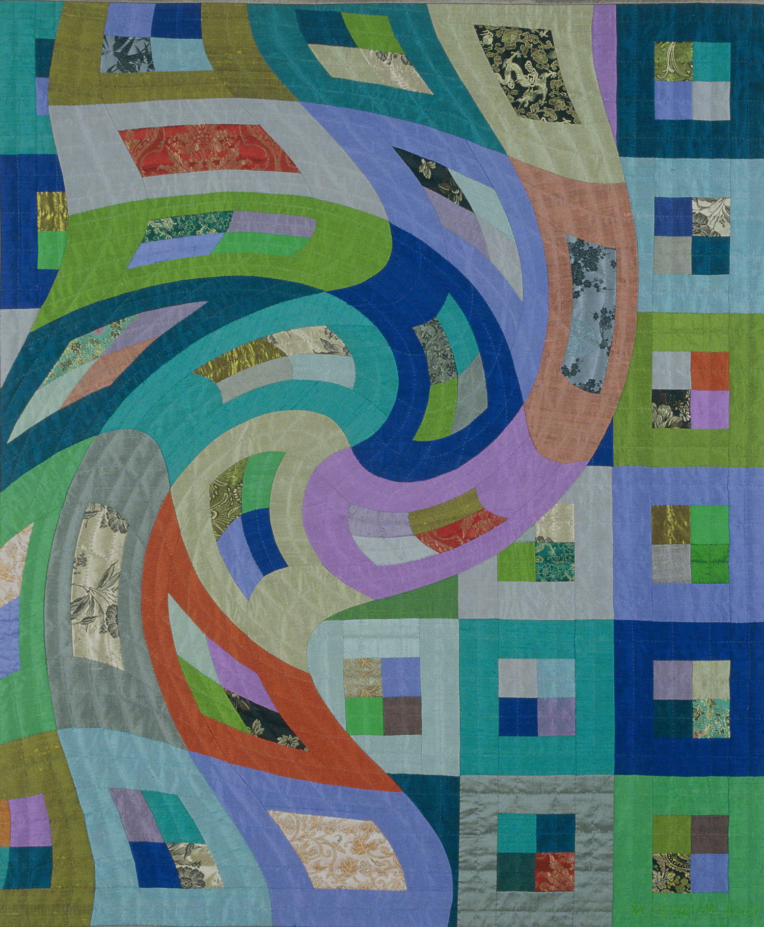 "3500-2. Disturbances 6, 48""x40"", pieced silks, hand quilted"