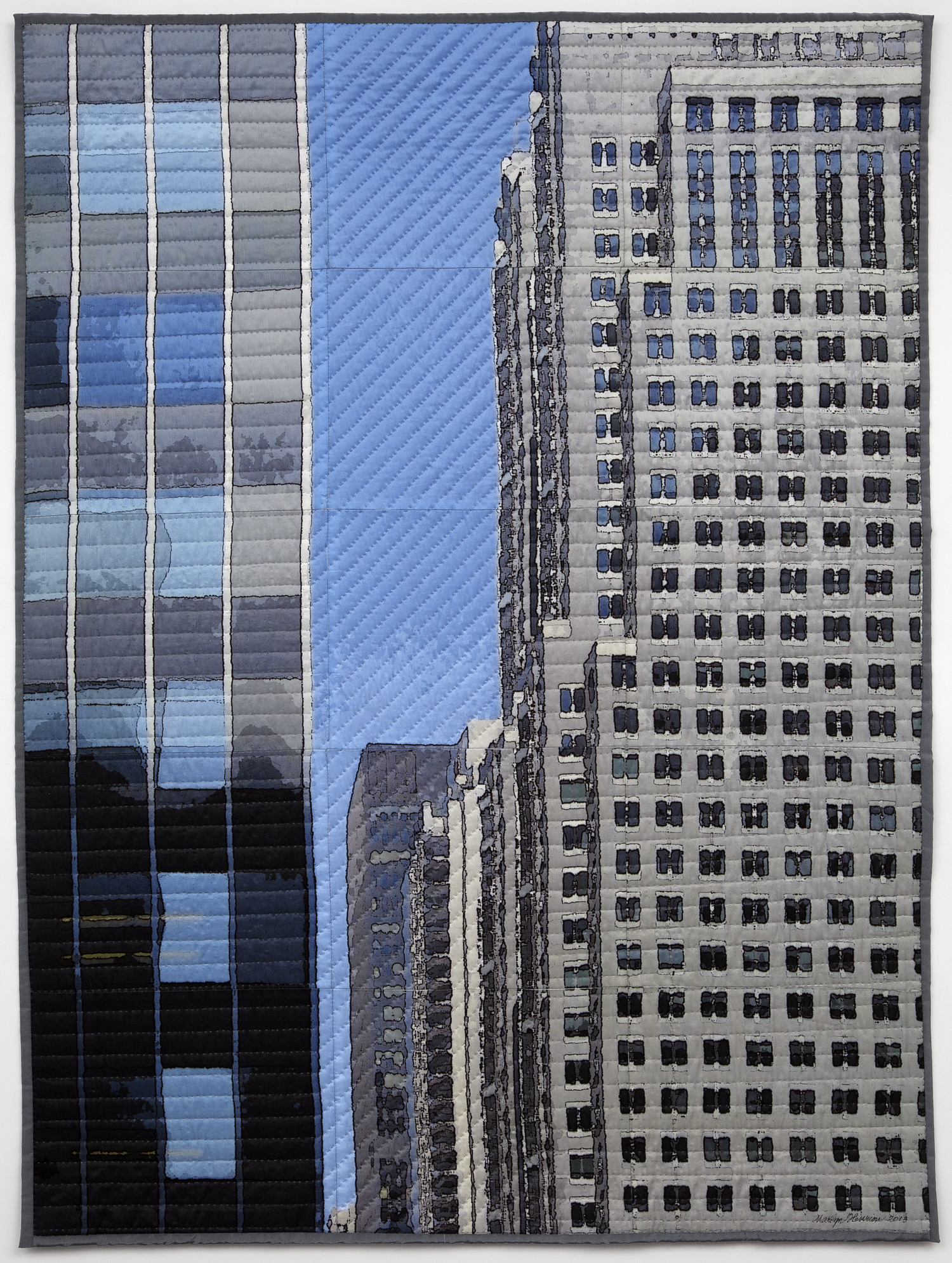 "3500-3. New York Windows 1306, 40""x30""x1"", mixed media on silk, pieced, hand quilted, gallery-wrapped on stretched canvas"