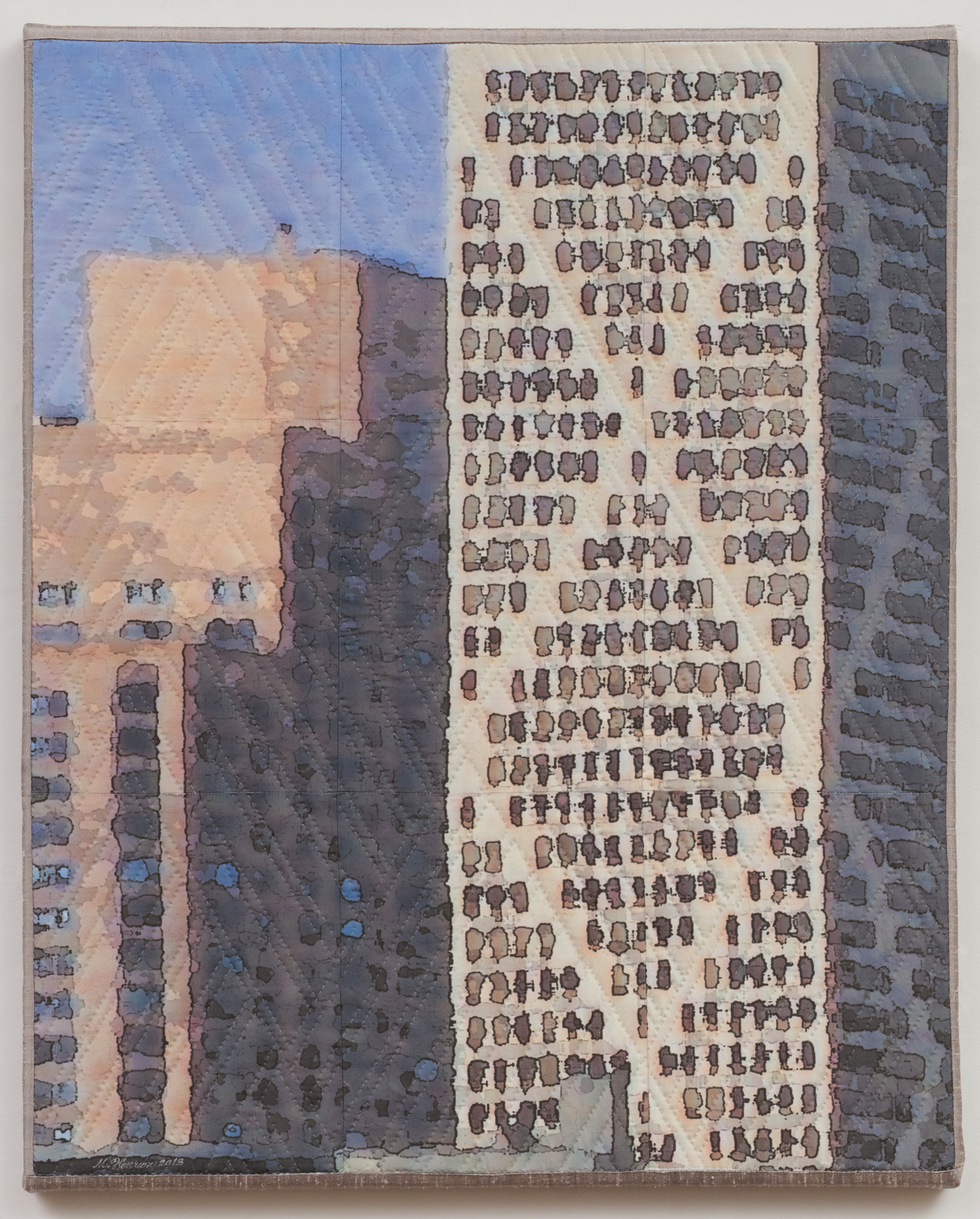 "2000-3. Chicago Windows 1304, 30""x24""x1"", mixed media on silk, pieced, hand quilted, gallery-wrapped stretched canvas"