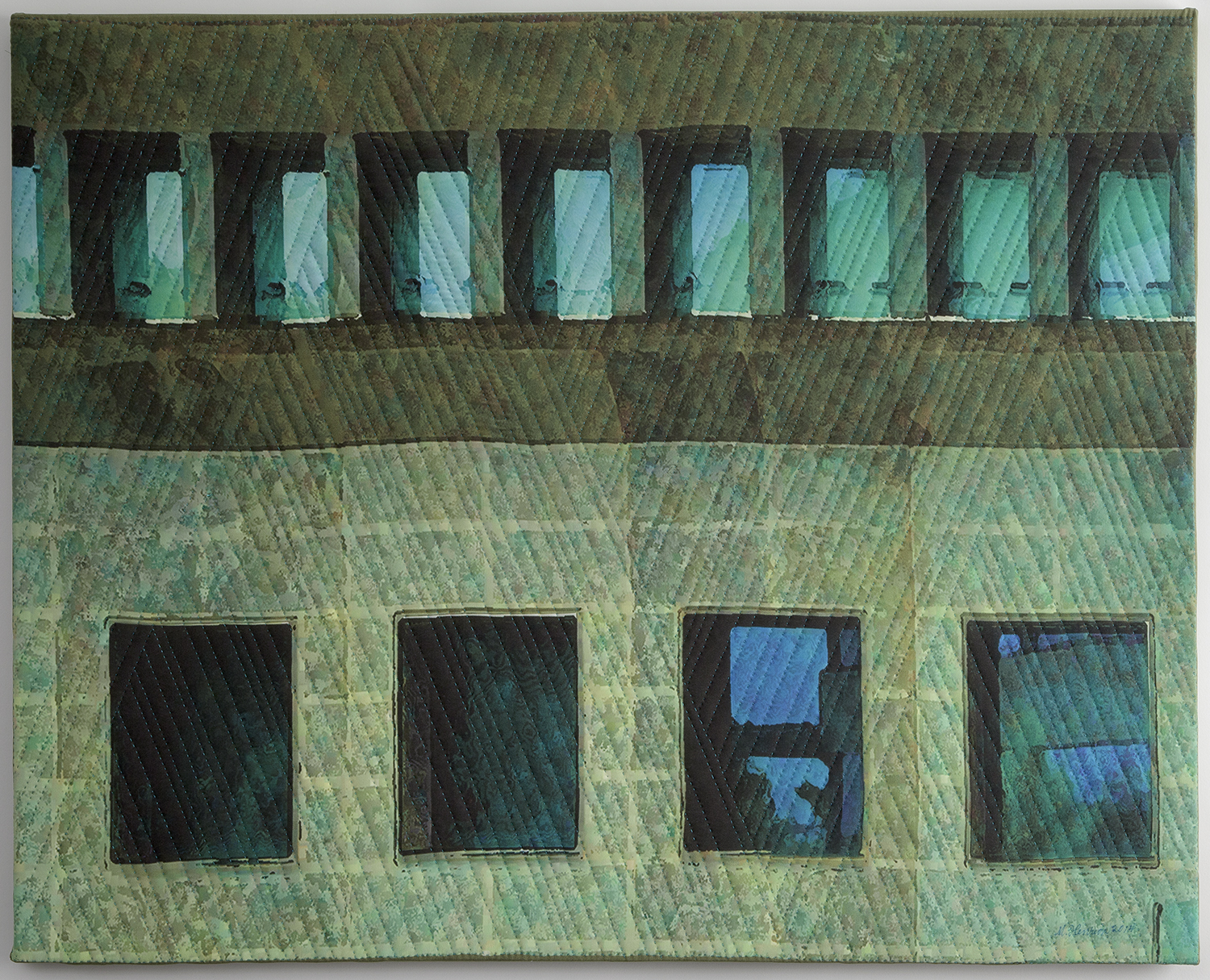 "2000-13. New York Windows 1451, 24""x30""x1"", mixed media on silk, hand quilted, gallery-wrapped stretched canvas"