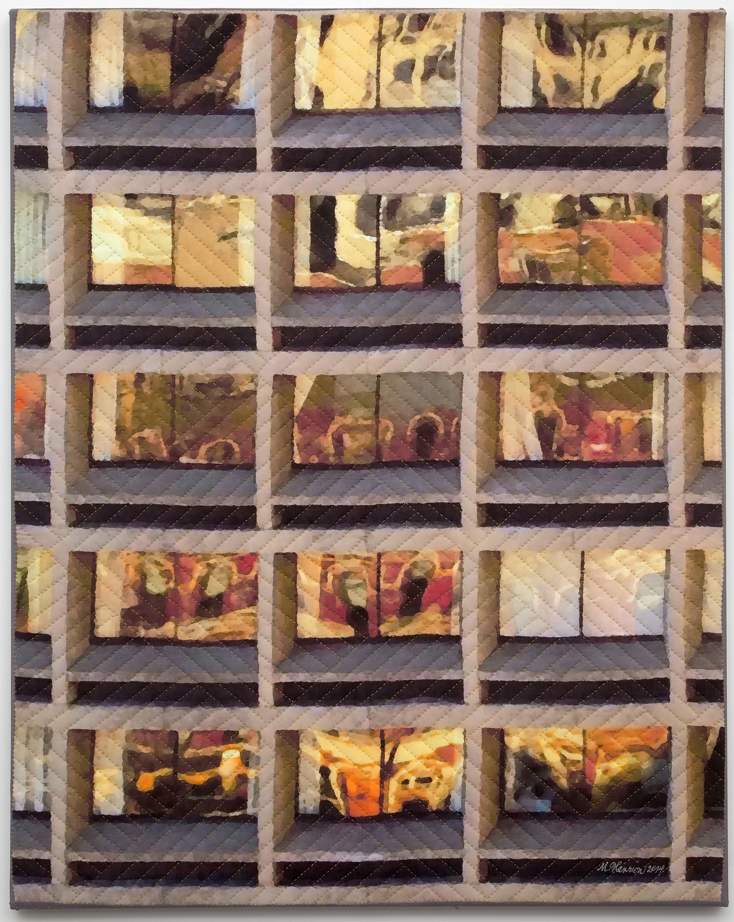 "2000-8. New York Windows 1446, 30""x24""x1"", mixed media on silk, hand quilted, gallery-wrapped stretched canvas"