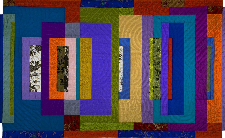 "3000-8. Fugue #2, 35""x57"", pieced silks, hand quilted"