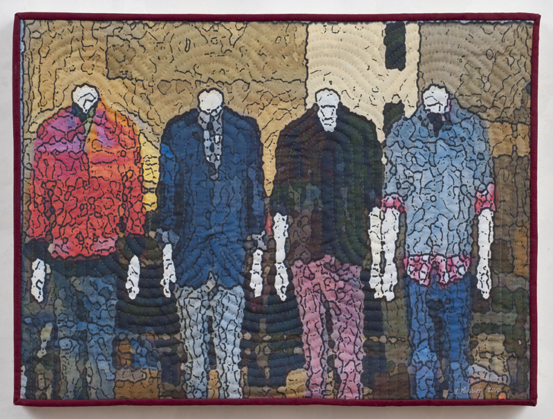 """Soft City: Fourplay, 18""""x24"""", mixed media on cotton, hand quilted, mounted on wood panel"""