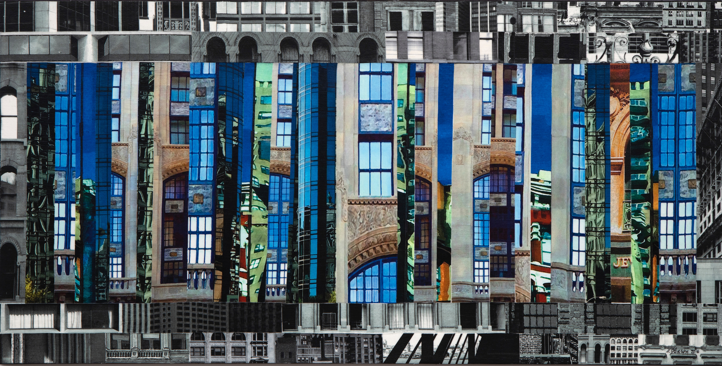 "Patchwork City 59     18""x36'x1""    Linen collage on stretched canvas"