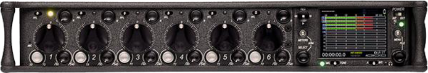 """""""The 664 Field Production Mixer is the flagship in Sound Devices' line of portable audio mixers. It has 12 analog inputs, four output buses, and records these 16 tracks to both CF and SD cards. This unprecedented amount of I/O connectivity and recording capability makes the 664 perfect for a wide range of production applications."""""""