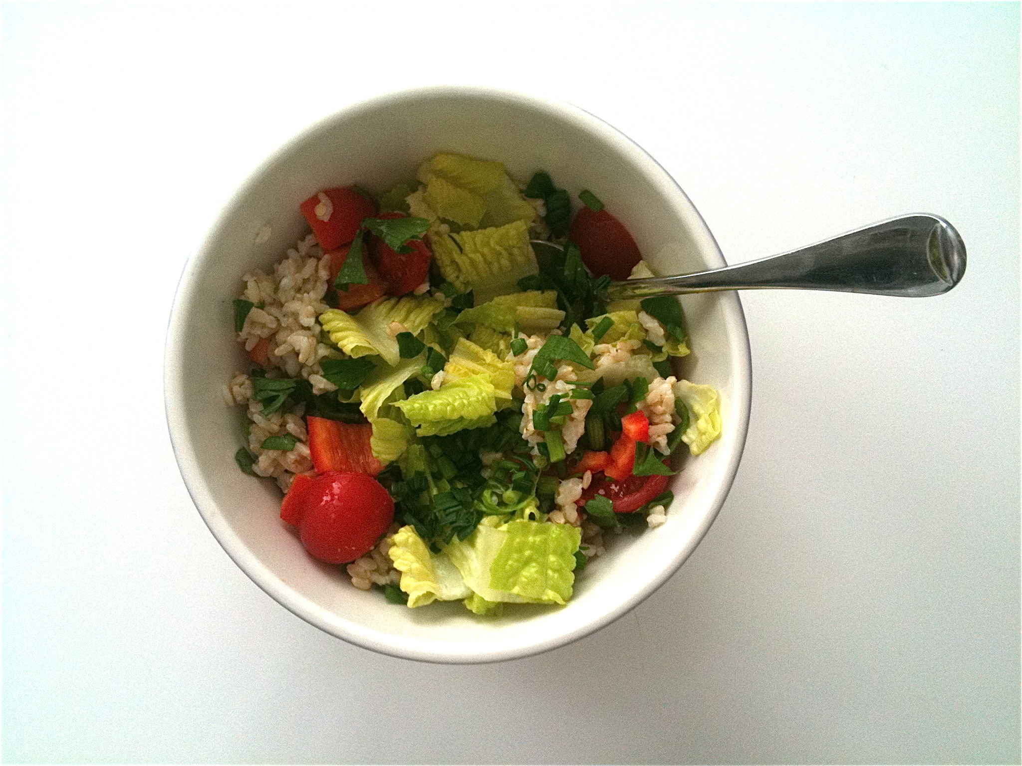 Simple salads of market bought (amazing!) brown rice, herbs and veggies became an easy go-to lunch option...