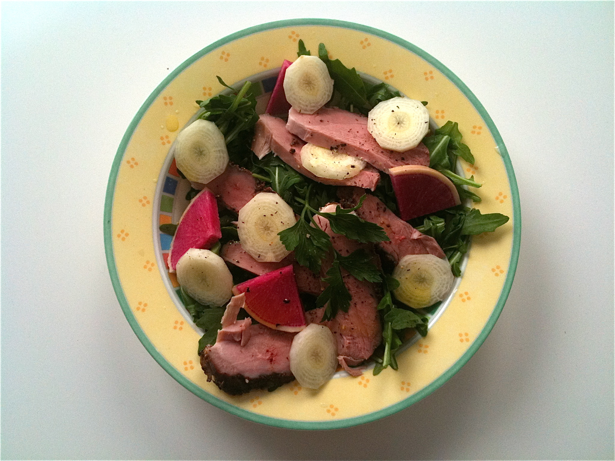 Here a more sophisticated market fresh salad with delicious smoked duck breast (more on that later!) and radishes...