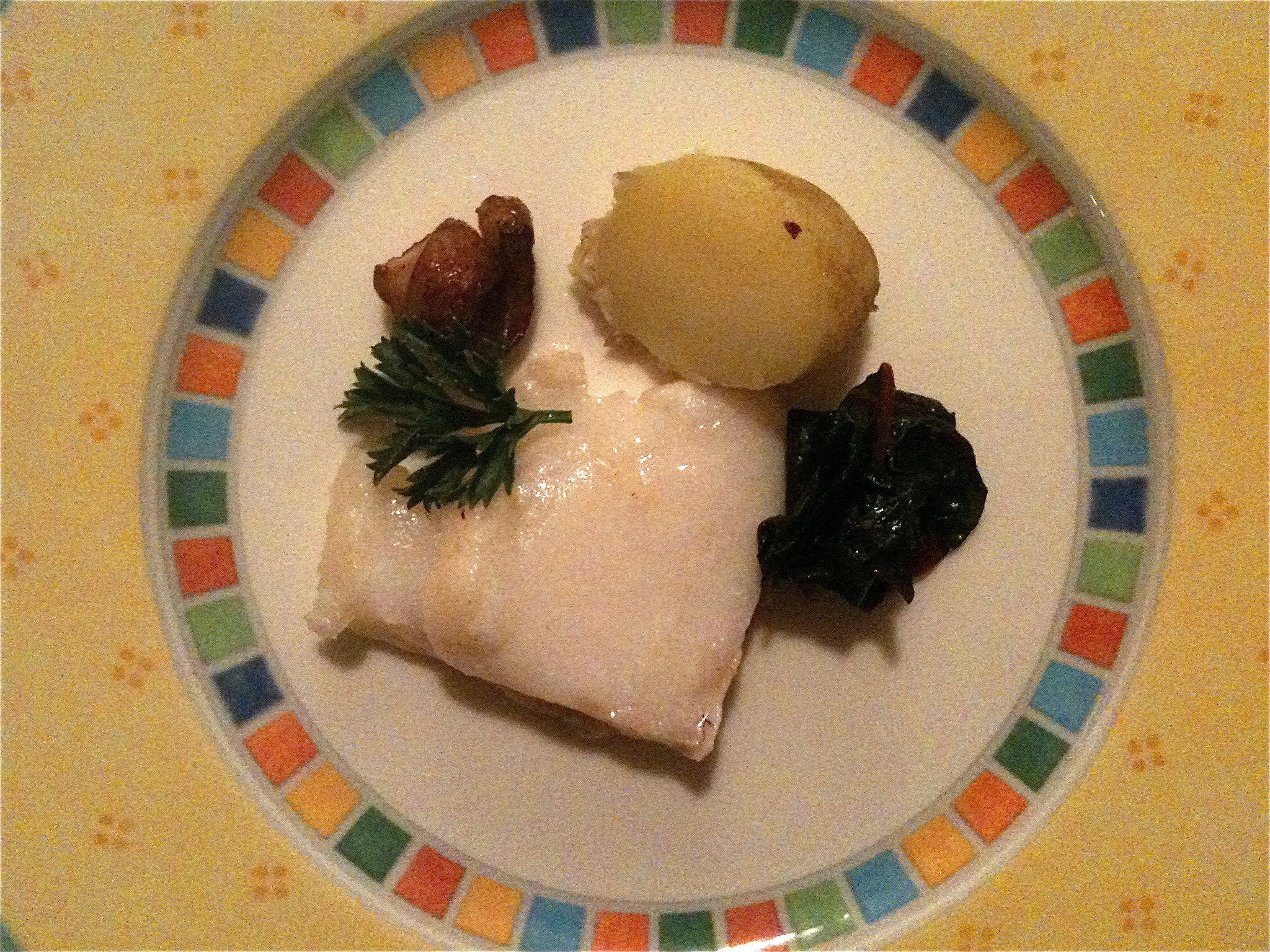 Fall also saw us eating Market fresh cod (incredible flesh), with simply steamed baby potatoes and quickly sauteed chard, using duck fat from those smoked duck breasts from the market...