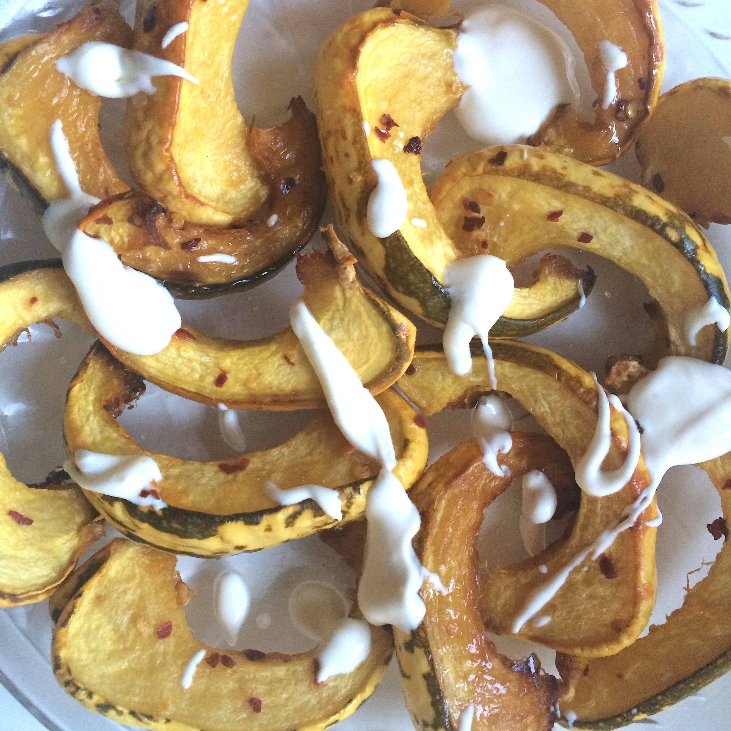 Roasted acorn squash with creme fraiche inspired by Edible SF.