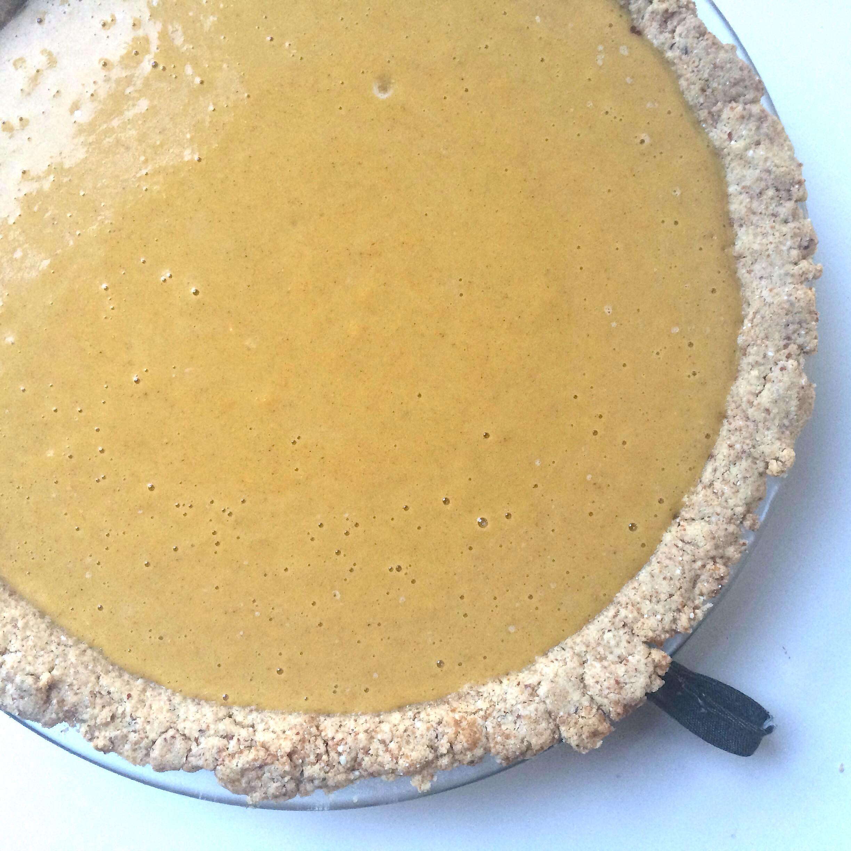 Delicata squash pie ready for baking.