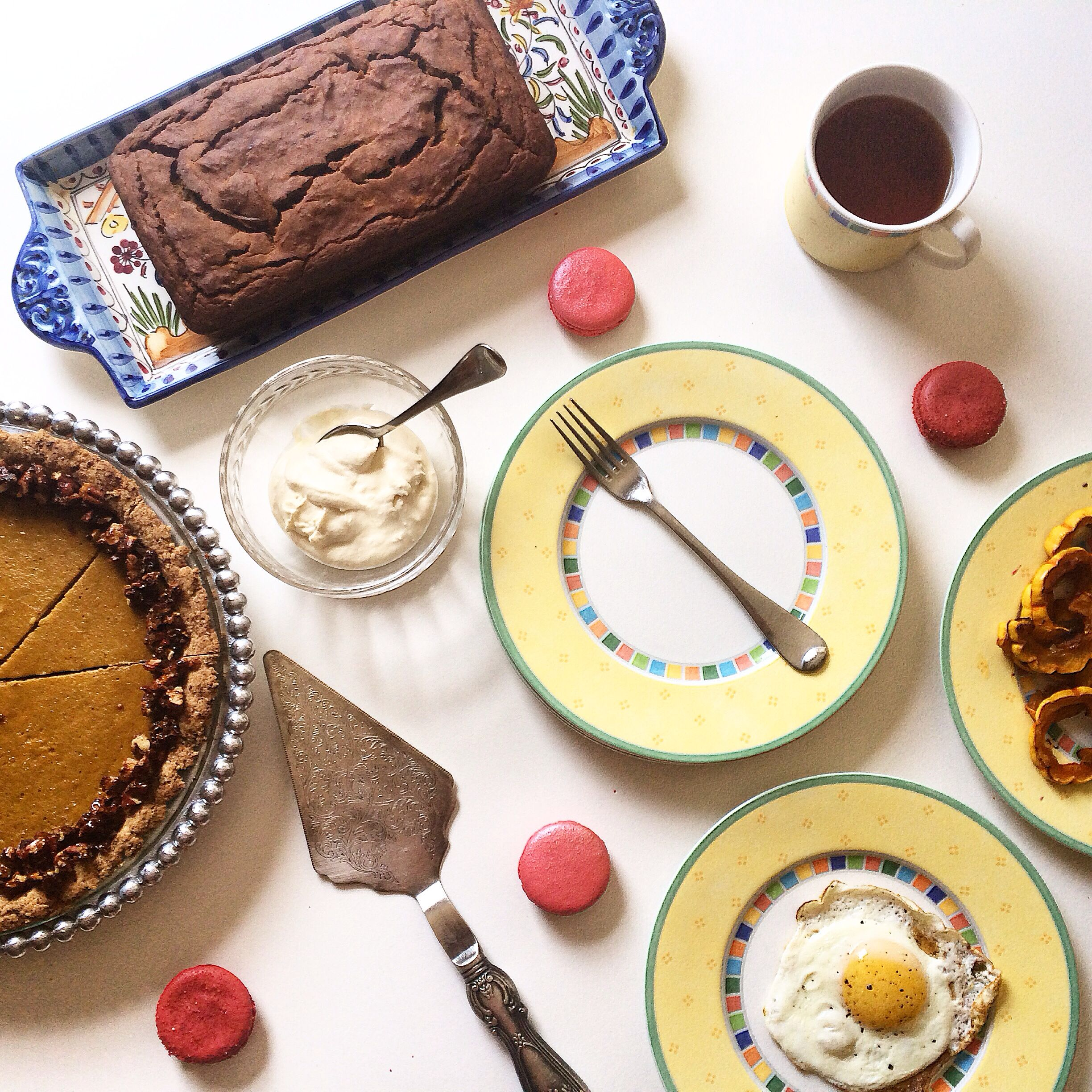 Thanksgiving brunch with Amanda Paa's delicata squash pie and Autumn harvest bread, Tout Sweet SF macarons found at CUESA, and eggs from pasture raised hens.