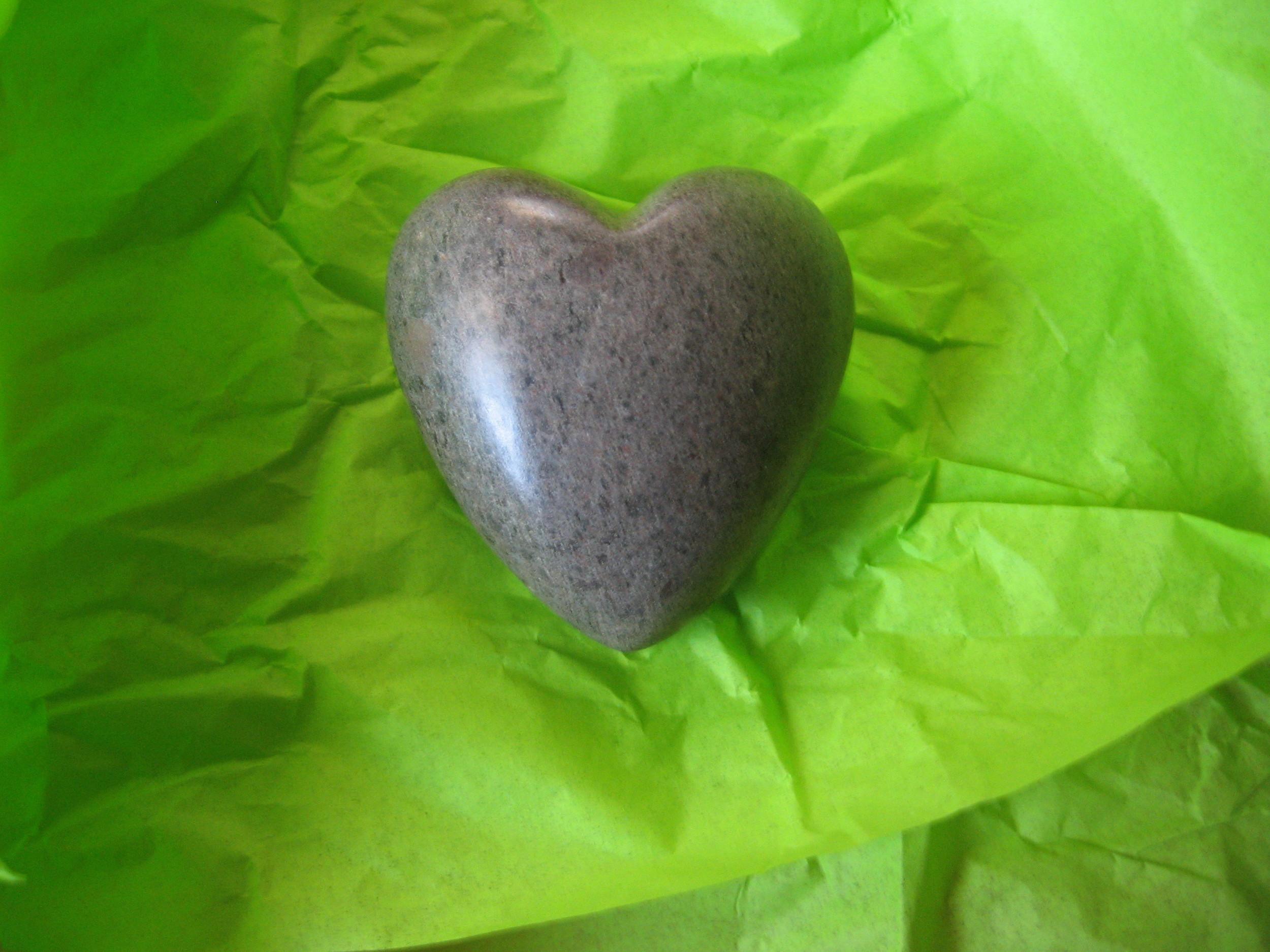 A stone heart from Million Hearts for Haiti.
