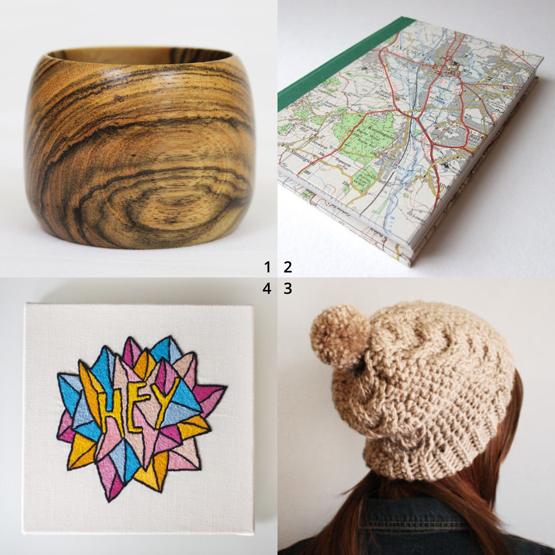 Clockwise from top left:      1  Small Bocote Ring Bowl by WatkinsWoodWork  2  Sketchbook with Original 1967 Map of Oxford Cover by HandMadeBooks  3  Hand Knit Taupe Slouchy Warm Winter Hat by YarnPlusYarn  4  Hey Embroidery by LouLaFayette
