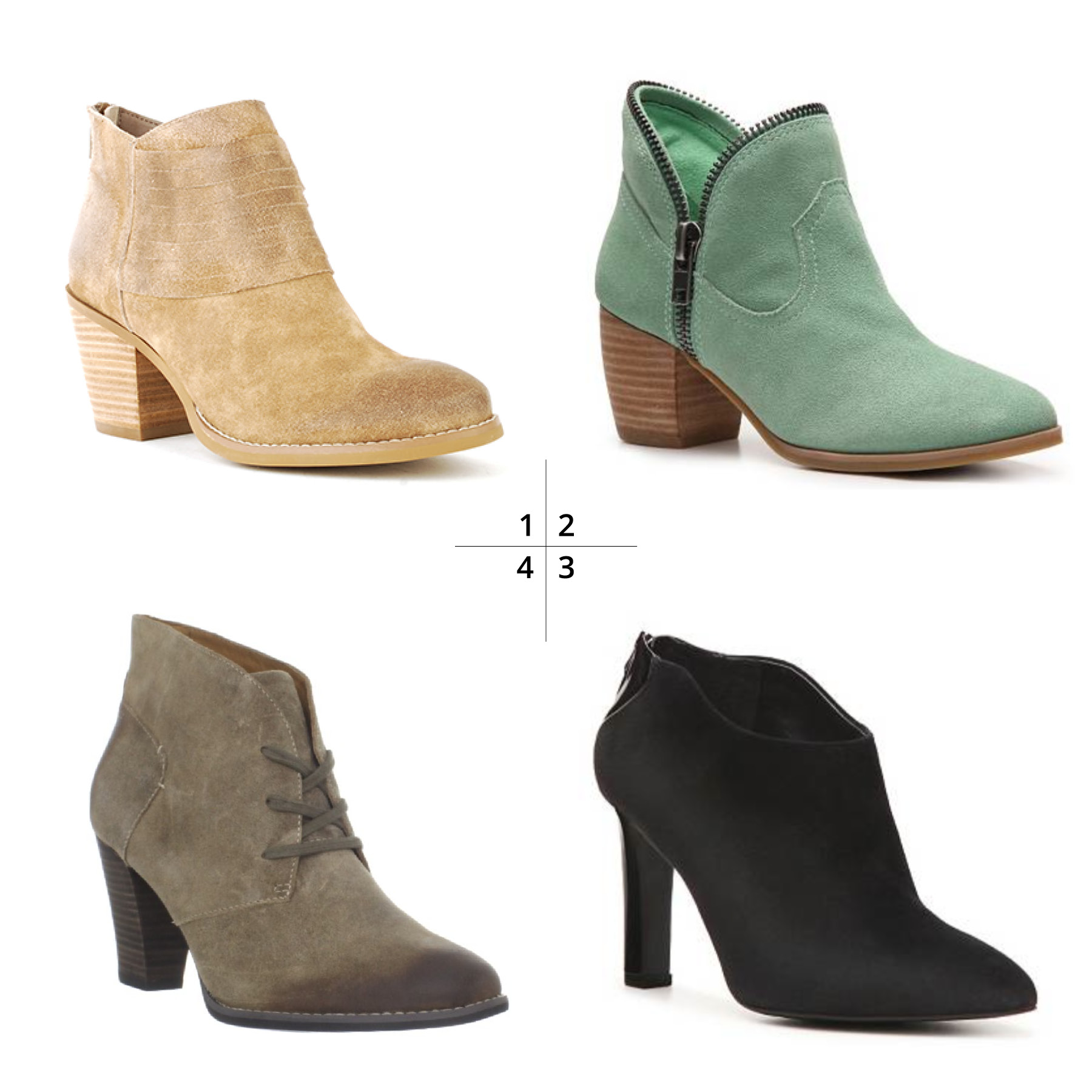 Clockwise, from top left:    1 Devoted by Seychelles  2 Strawberry Fields by Chinese Laundry  3 Vella by Franco Sarto  4 Heath Wren by Clarks