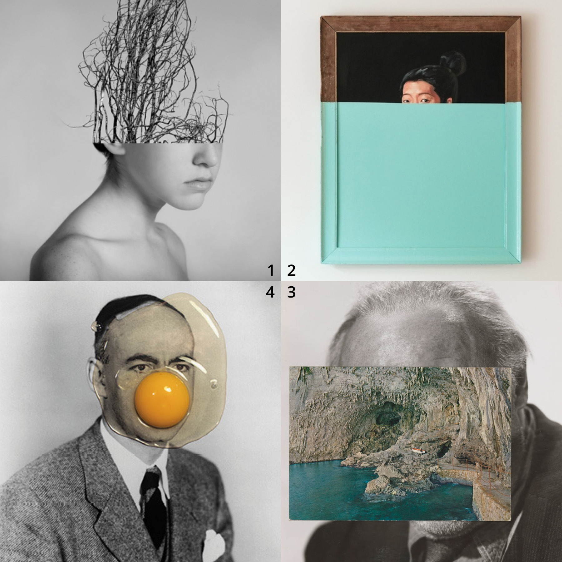 Clockwise from top left:      1 From     Simulations  by Alexandra Bellissimo  2 From     Dipped Paintings  by Oliver Jeffers  3     Mask CII  by John Stezaker   4   NASA Agent + 1 Egg  by Brest Brest Brest