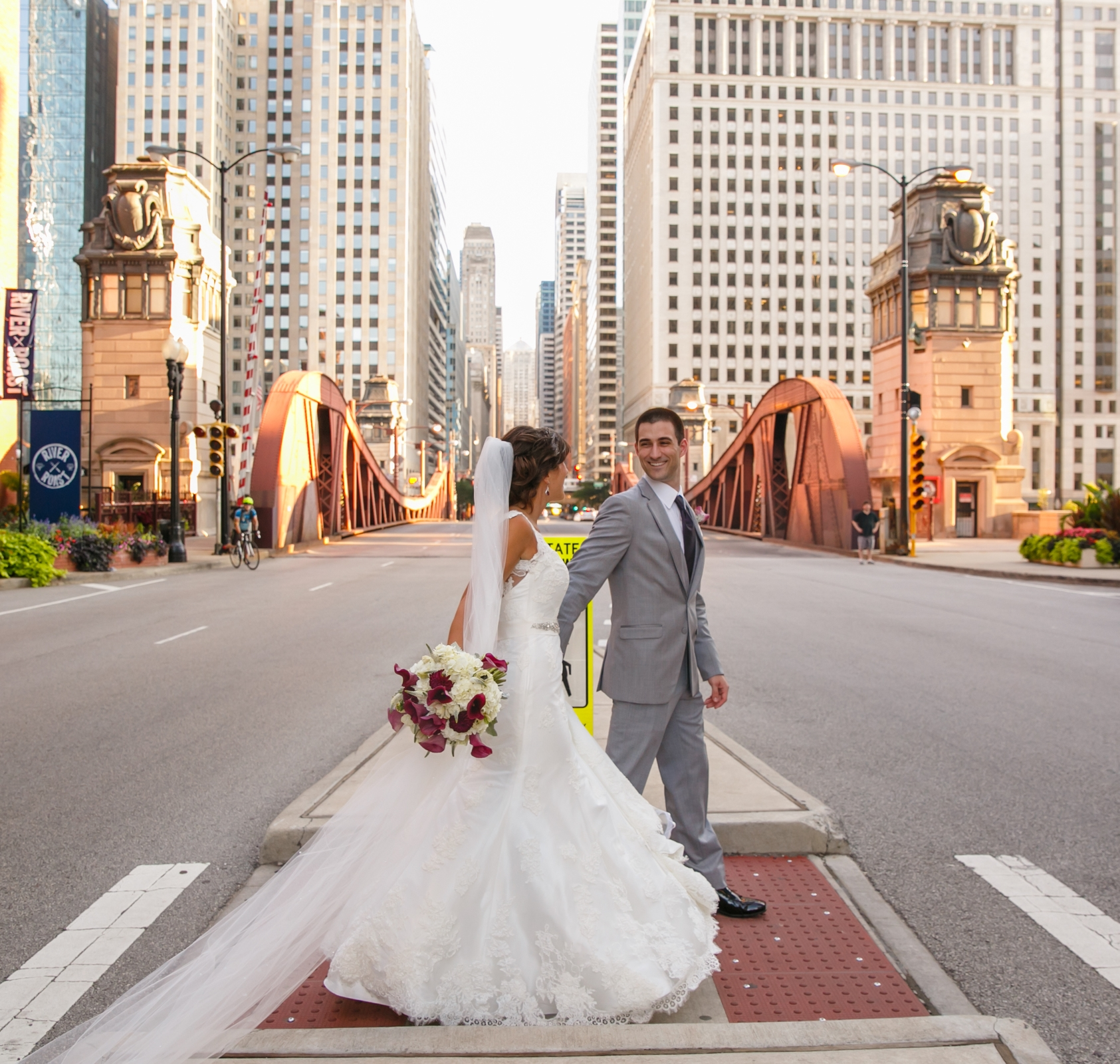 Bride and groom downtown wedding