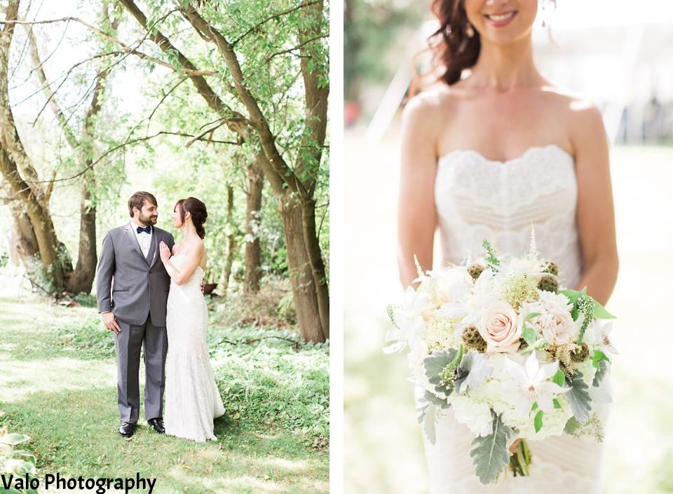 White, blush, gray bridal bouquet
