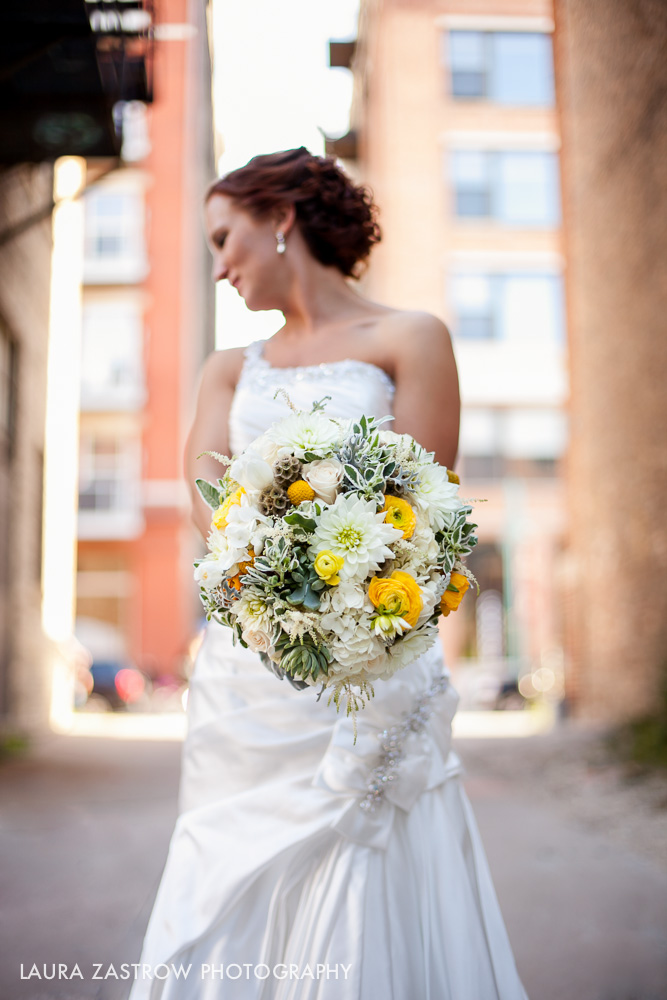 White, yellow, green bouquet