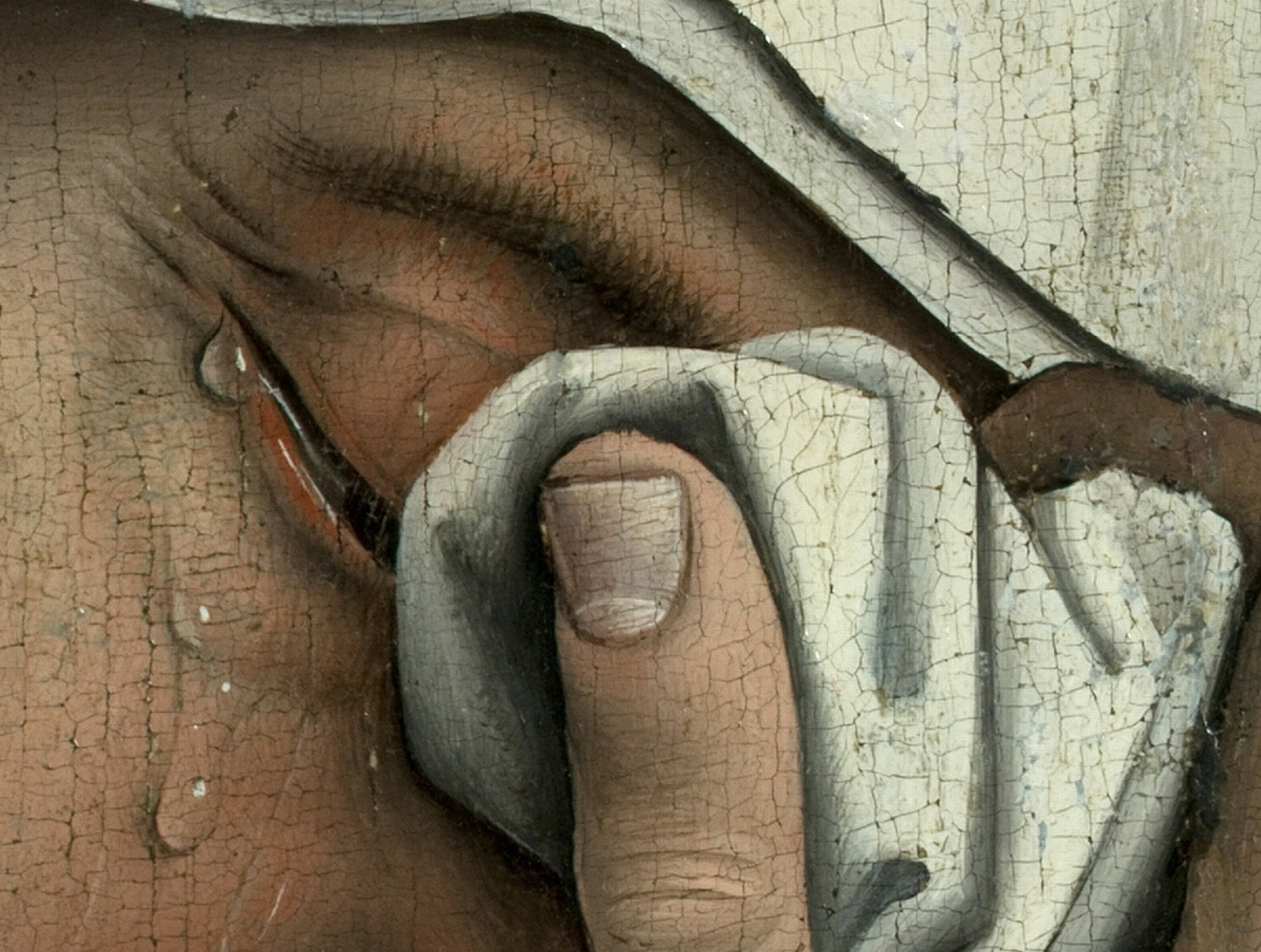 Rogier van der Weyden.  Mary's Tears, detail from Descent from the Cross  (circa 1399)   from Art in the Christian Tradition, a project of the Vanderbilt Divinity Library, Nashville, TN