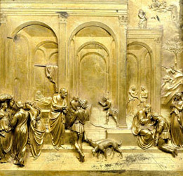 """Jacob and Esau"" by Lorenzo Ghilber Gilded bronze panel in the Gates of Paradise doors, Bapistery of St. John in Florence, Italy"