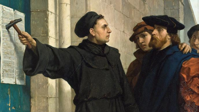 Painting by Ferdinand Pauwels (1830-1904), public domain, courtesy of Wikimedia Commons.   Martin Luther nails The 95 Theses or Disputation on the Power of Indulgences, a list of propositions for an academic disputation, on Oct. 31, 1517. What he intended to spark debate changed the world.