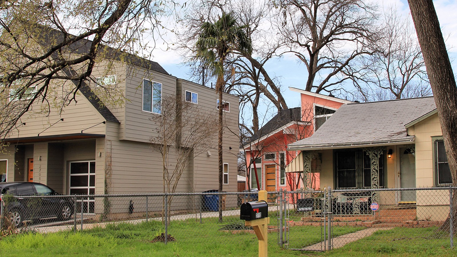 In East Austin, gentrification has displaced the African American and Latinx communities. Notice the changing housing stock.