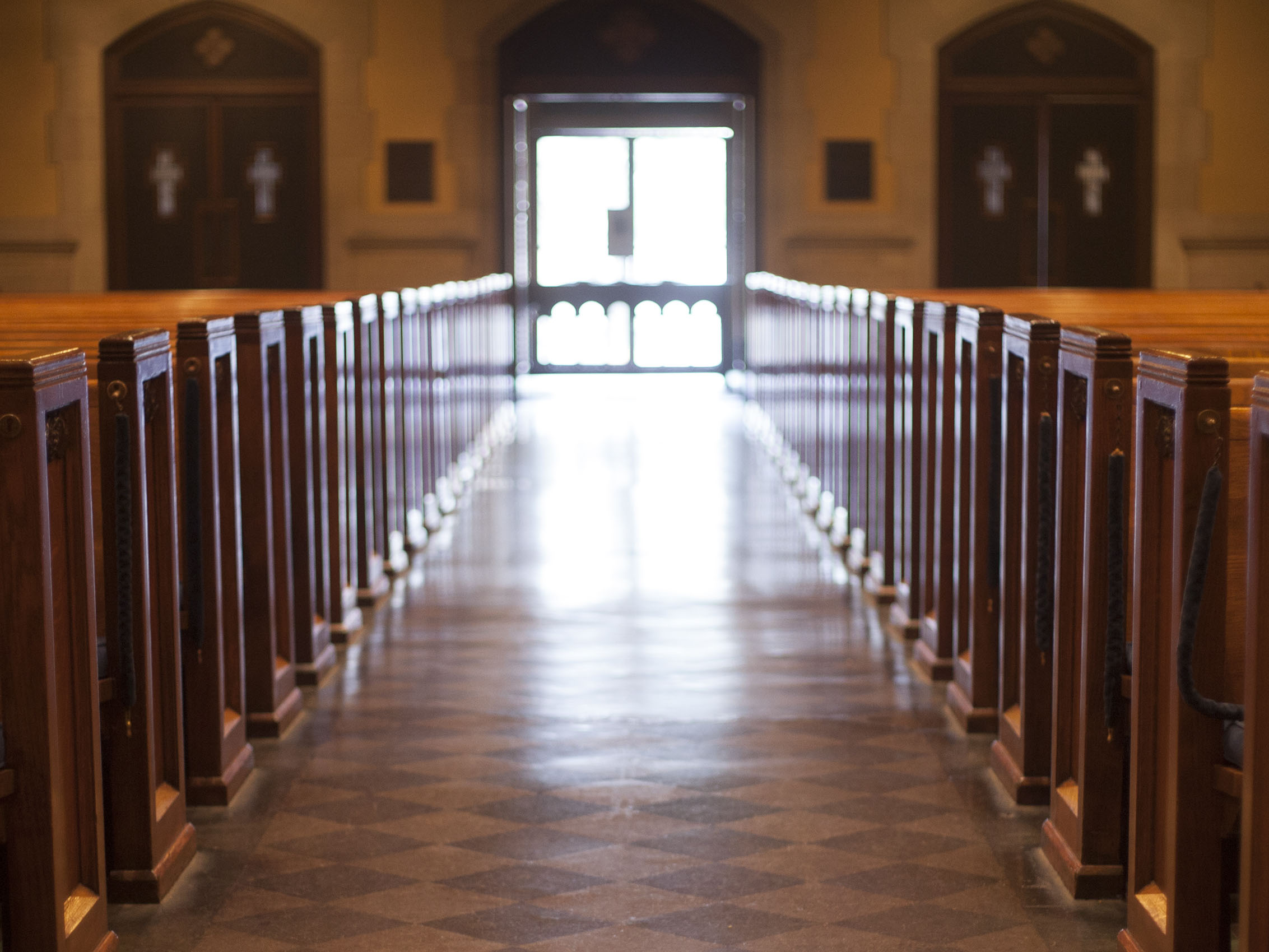 Photo by Kelsey Johnson; center aisle of St. Paul's United Methodist Church, Houston