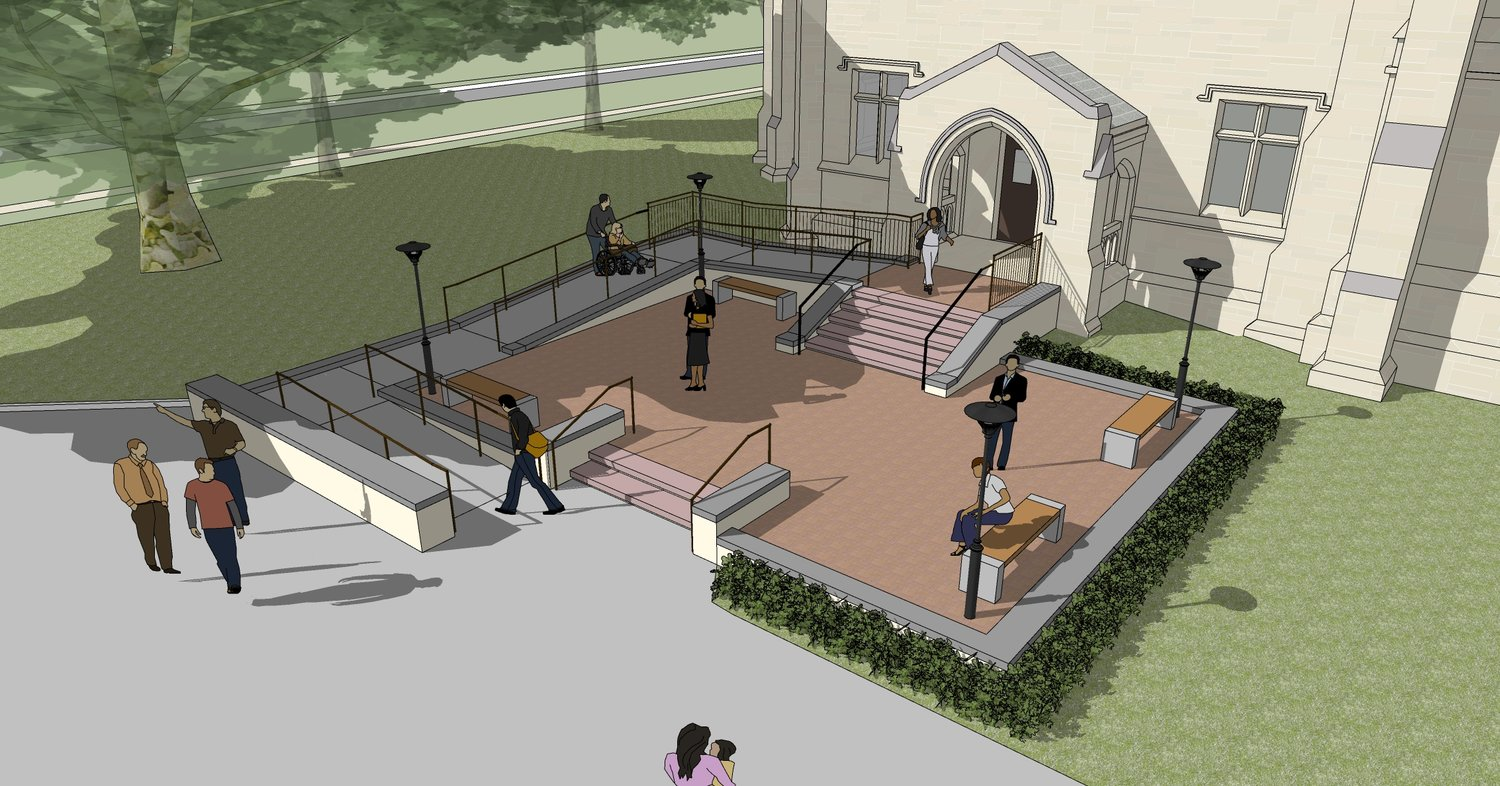 Revised architectural plan for the Jones Plaza entrance.