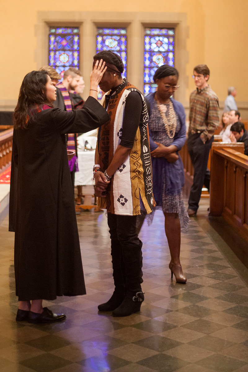 Ash Wednesday, 2018, Rev. Karyn Richards-Kuan imposes ashes